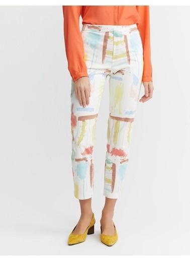 BGN Bgn Pamuk Karısım Baskılı Multirenk Dar Kesım Kadın Pantolon Renkli
